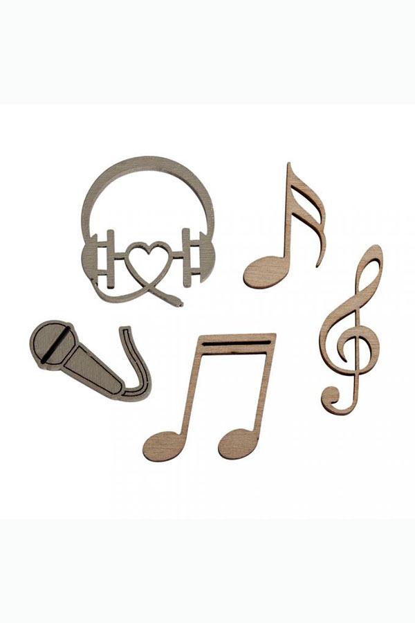 Ξύλινα διακοσμητικά 12τμχ Μουσική Rayher 46264000