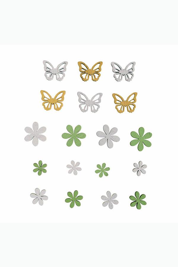 Ξύλινα διακοσμητικά 18τμχ Λουλούδια/Πεταλούδες Rayher 46593000