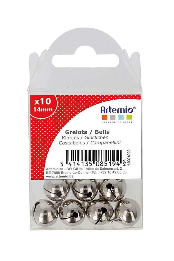 Κουδουνάκια μεταλλικά 14mm συσκευασία 10τμχ Ασημί Artemio 13001029