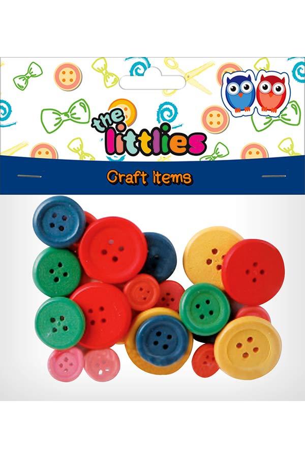 Κουμπιά ξύλινα χρωματιστά 24τεμ the littlies 000646606