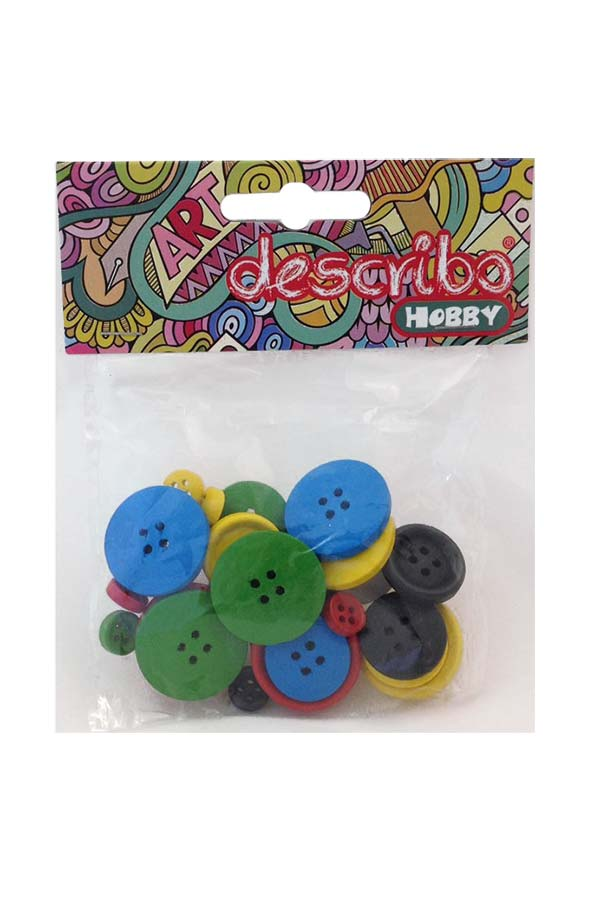 Κουμπιά ξύλινα χρωματιστά 30τεμ describo HOBBY DES-0014