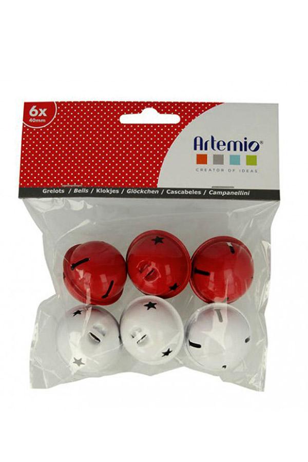 Κουδούνια μεταλλικά 40mm συσκευασία 6τμχ λευκό και κόκκινο Artemio 13001040