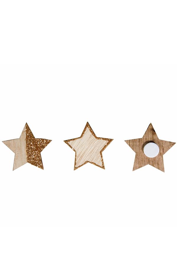 Ξύλινα αυτοκόλλητα διακοσμητικά 12τμχ Αστέρια Rayher 46085000