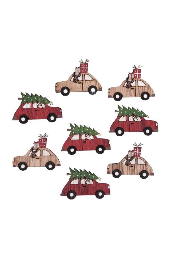 Ξύλινα διακοσμητικά 8τμχ Χριστουγεννιάτικα αυτοκίνητα Rayher 46306000