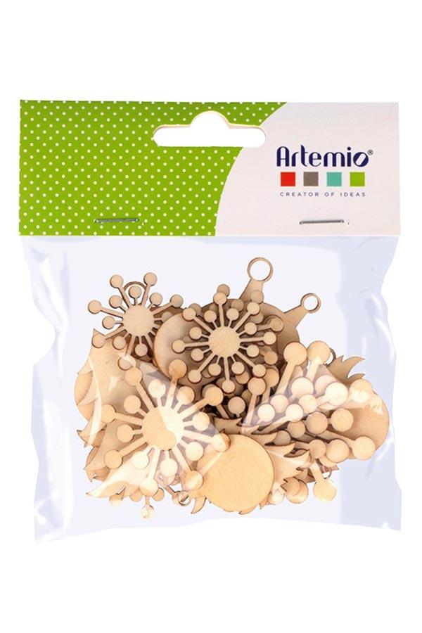 Ξύλινα διακοσμητικά 30τμχ Χριστουγεννιάτικα σχέδια Artemio 14002772