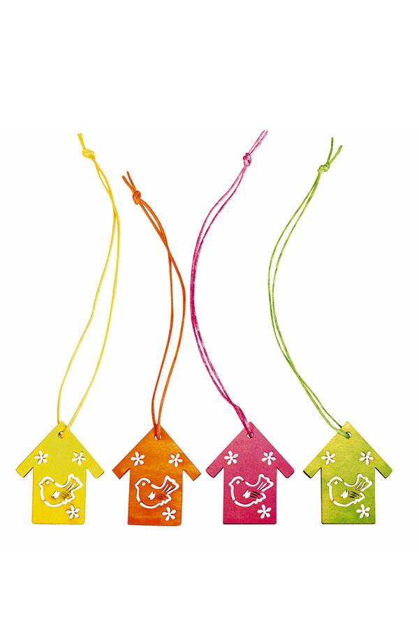 Ξύλινα κρεμαστά διακοσμητικά σετ 8τμχ Κλουβί Rayher 56814999