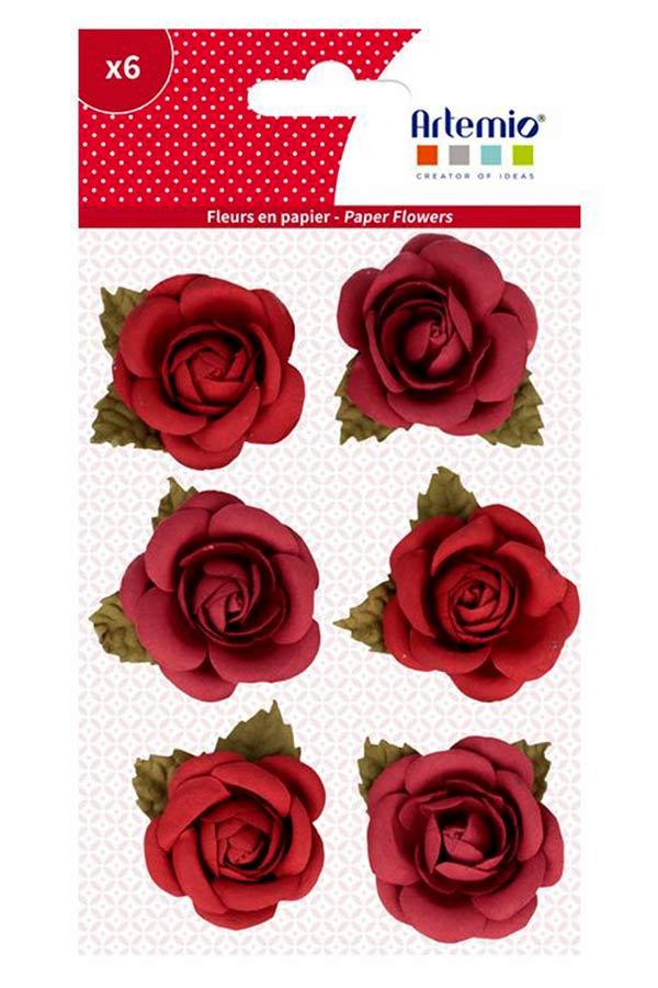 Λουλούδια χάρτινα μπορντώ 6 τεμ. Artemio 11060719