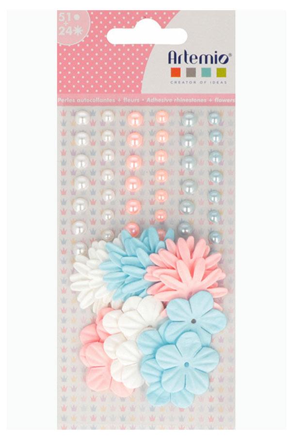 Πέρλες αυτοκόλλητες 51 τεμ και 24 τεμ Λουλούδια Artemio 11060650