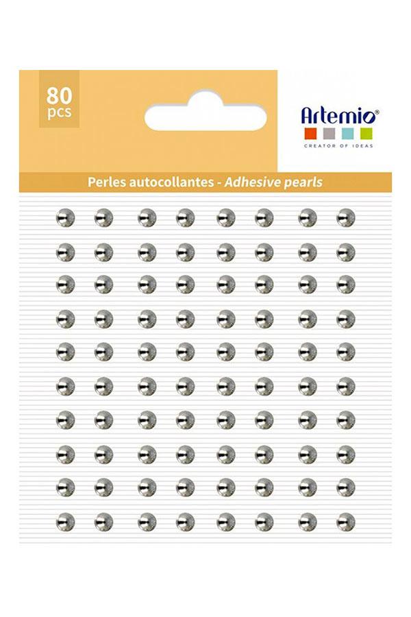 Πέρλες αυτοκόλλητες 64 τεμ ασημί Artemio 11060729