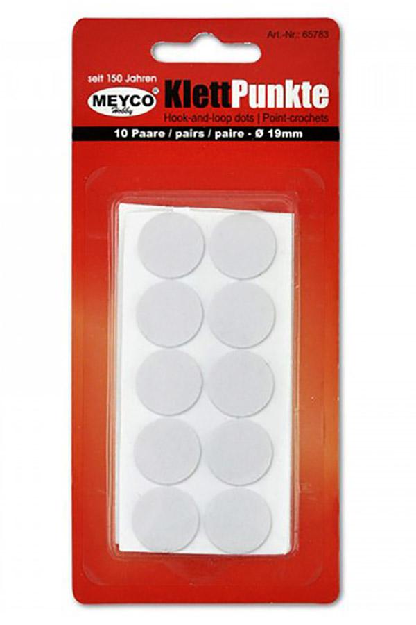 Βέλκρο αυτοκόλλητο λευκό στρογγυλό 19mm MEYCO 65783