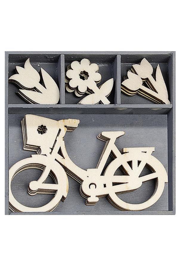Ξύλινα διακοσμητικά Ποδήλατο - Λουλούδια 20τμχ Knorr prandell 21-18521030