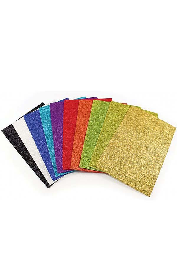 Αφρώδη φύλλα glitter σετ 10 χρωμάτων 20x30cm Groovy 0.91.246