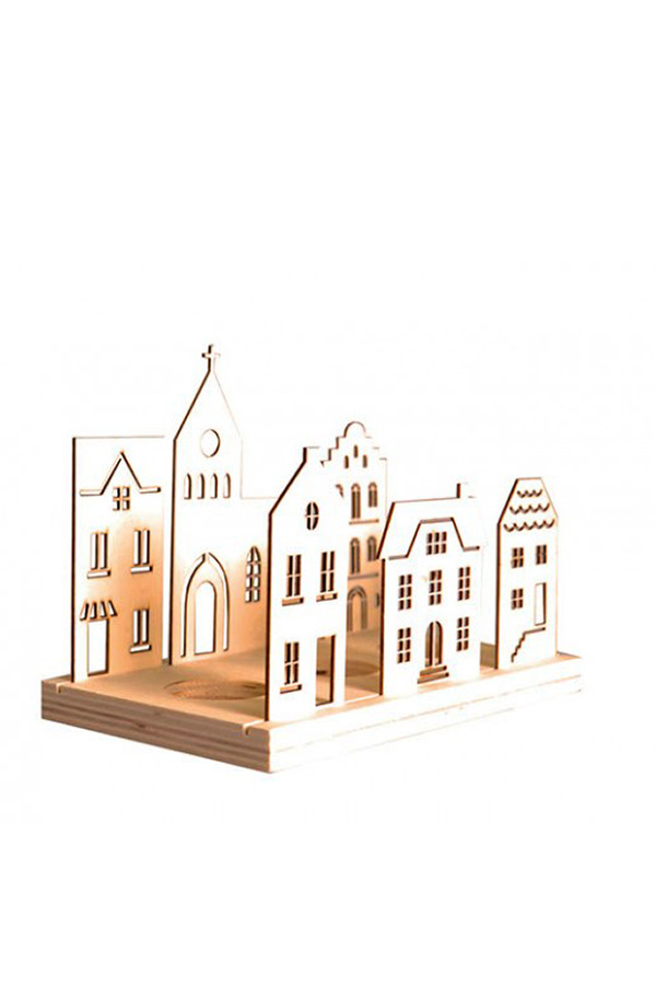 Ξύλινη κατασκευή φωτιστικό ρεσσό  μινιατούρα Σετ χωριό Artemio 14001658