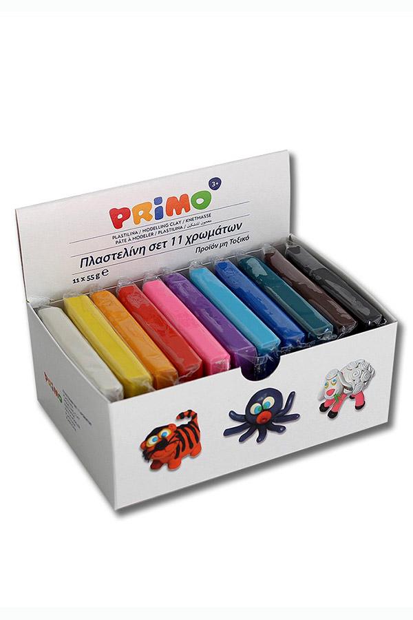 Πλαστελίνη PRIMO 55gr πακέτο 11 χρωμάτων 2661CP11