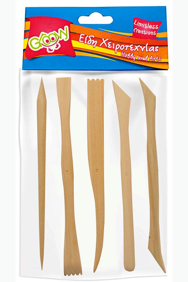 Εργαλεία γλυπτικής ξύλινα 5 τεμάχια Groovy FNZ-06