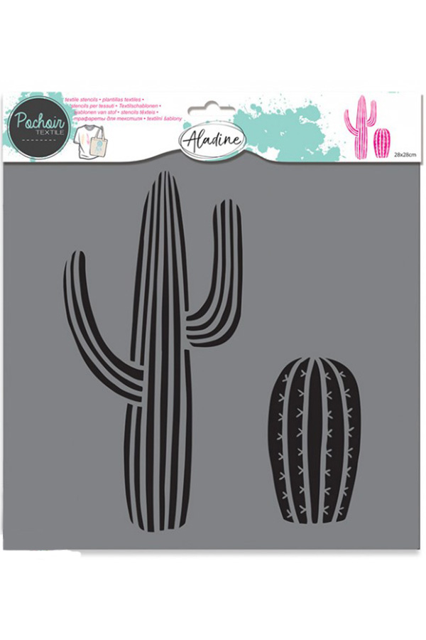 Στένσιλ ζωγραφικής πλαστικό Pachair Textile 28cm Κάκτοι ALADINE 81011