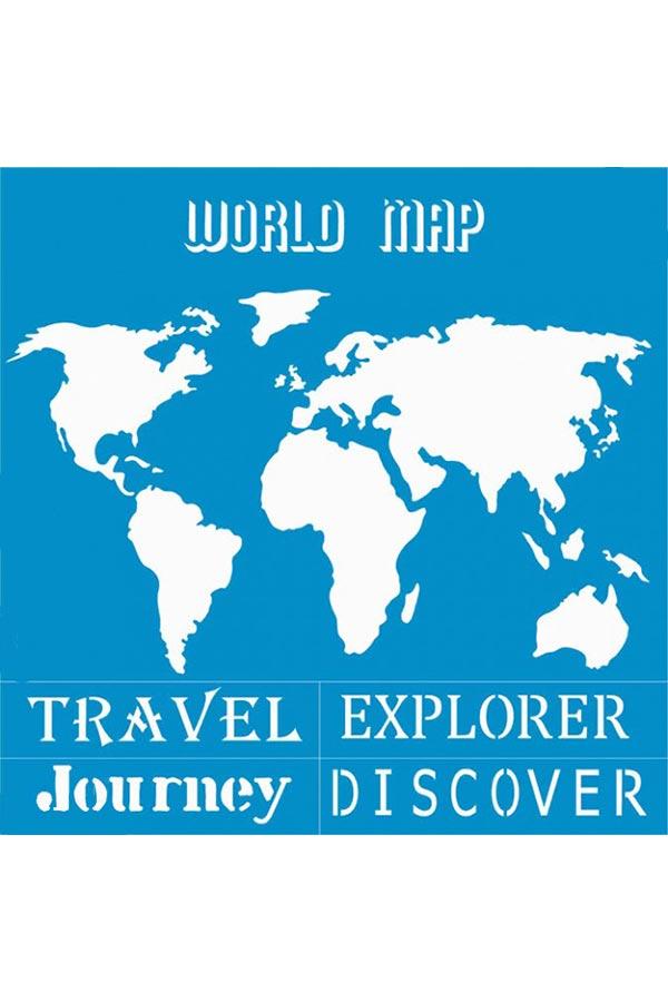 Στένσιλ ζωγραφικής πλαστικό 30x30cm Homecraft World Map KK0105