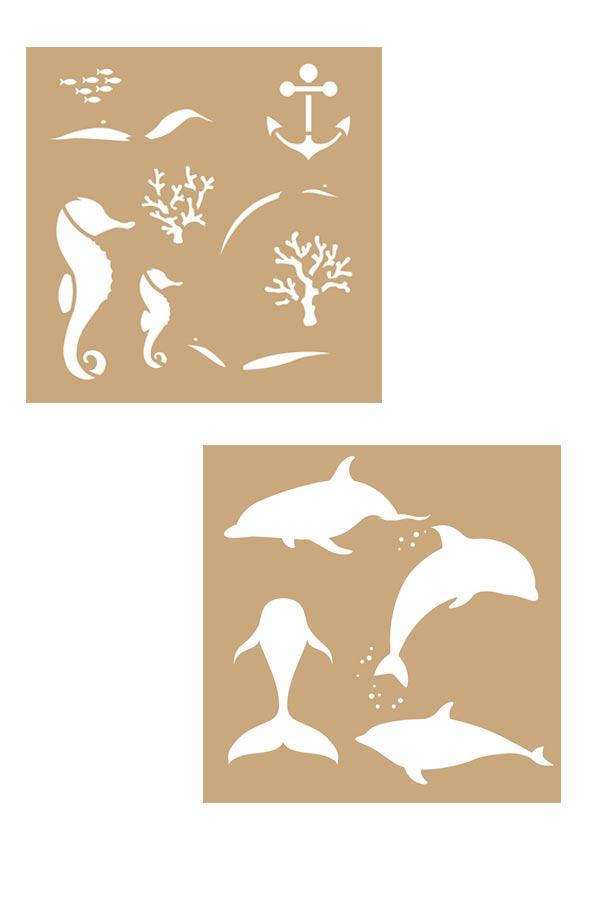 Στένσιλ ζωγραφικής χάρτινο 20x20cm Deep sea Artemio 15075022