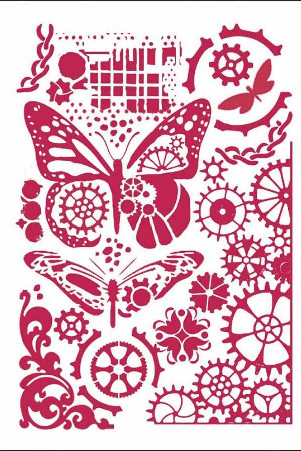 Στένσιλ ζωγραφικής πλαστικό 21x30cm Stamperia Butterflies and Mechanisms KSG421