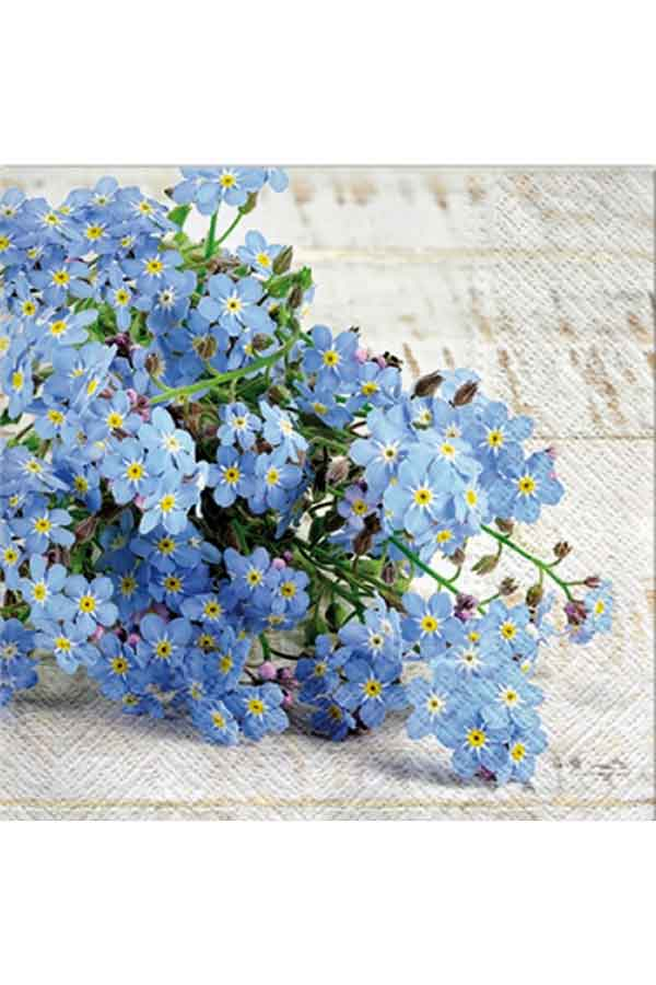 Χαρτοπετσέτα Decoupage Paw 33x33 1τμχ Μπλε λουλούδια SDL120108
