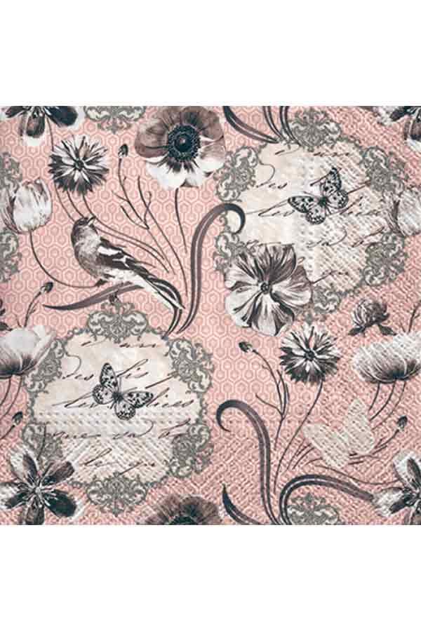 Χαρτοπετσέτα Decoupage Paw 33x33 1τμχ Βικτωριανά λουλούδια SDL095100