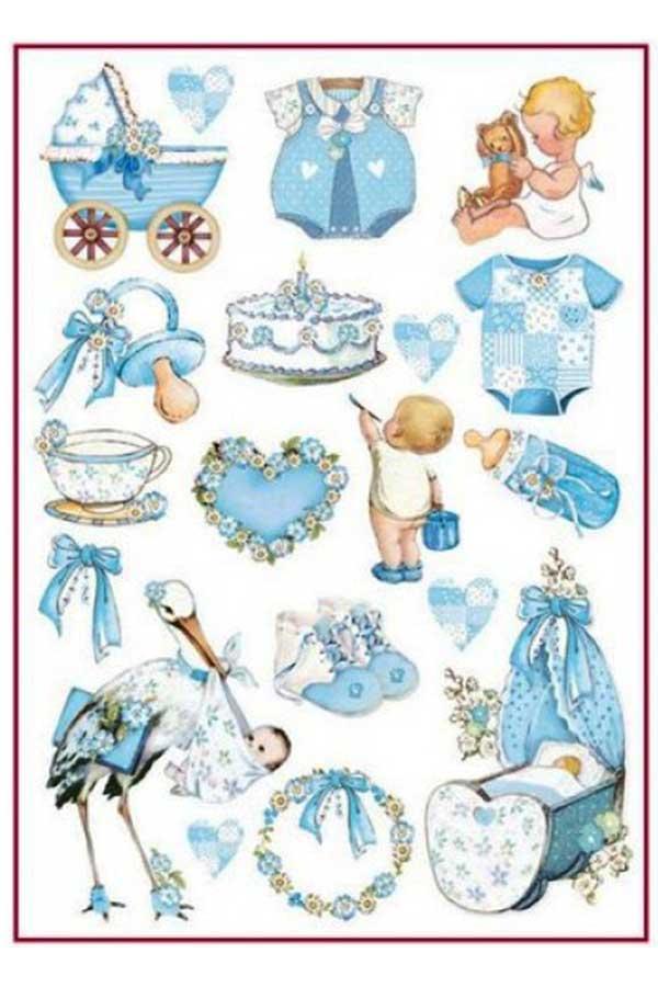 Ριζόχαρτο Decoupage Baby Boy Decorations 21x29,7cm Stamperia DFSA4292