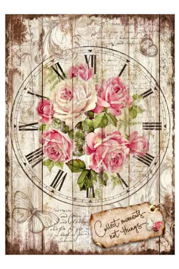 Ριζόχαρτο Decoupage Sweet time Clock Bouquet 21x29,7cm Stamperia DFSA4255
