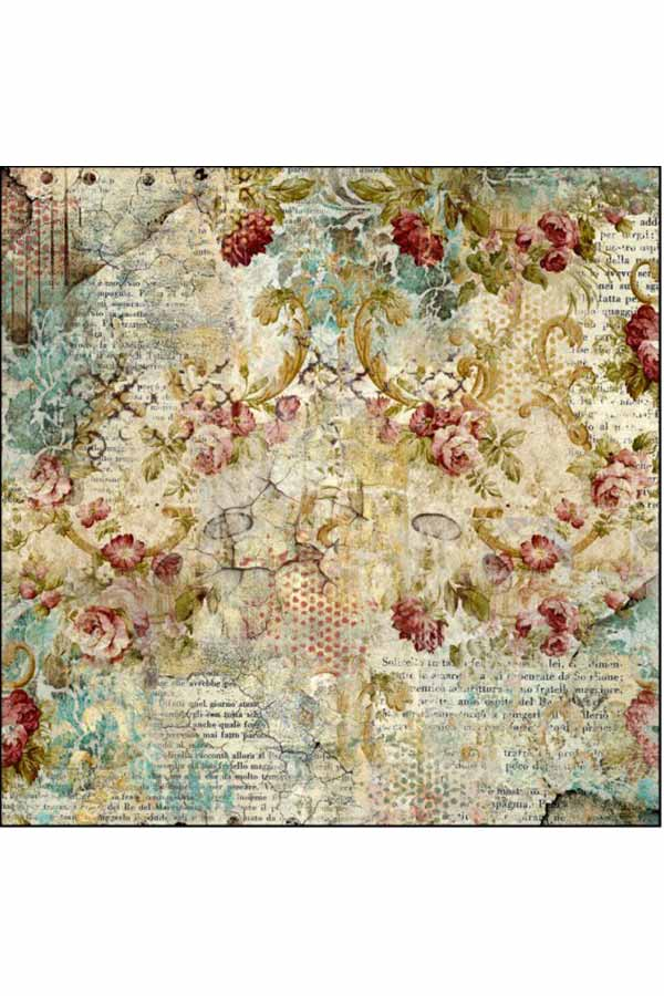 Ριζόχαρτο Decoupage Time is an Illusion Floral Texture 50x50cm Stamperia DFT327