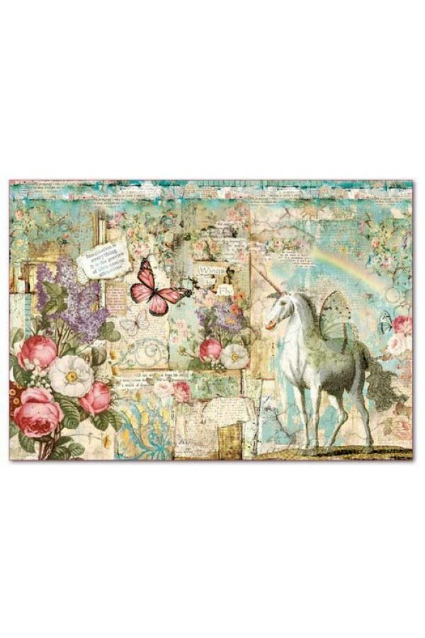 Ριζόχαρτο Decoupage Wonderland Unicorn 33x48cm Stamperia DFS393