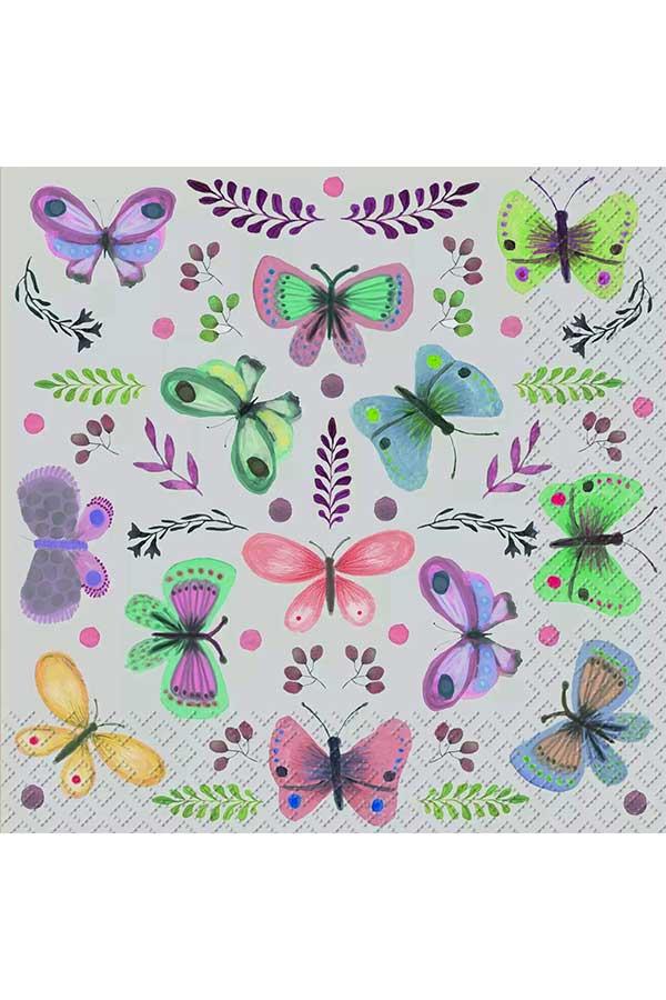 Χαρτοπετσέτα Decoupage Stewo 33x33 1τμχ Fiala πεταλούδες 2572655560