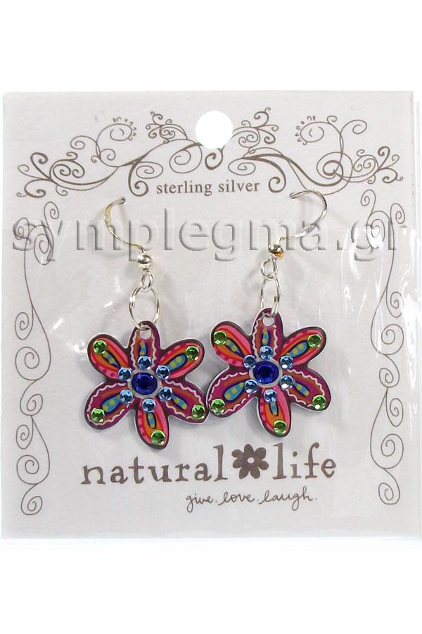 Σκουλαρίκια Natural Life - Live Love Laugh ERNG013