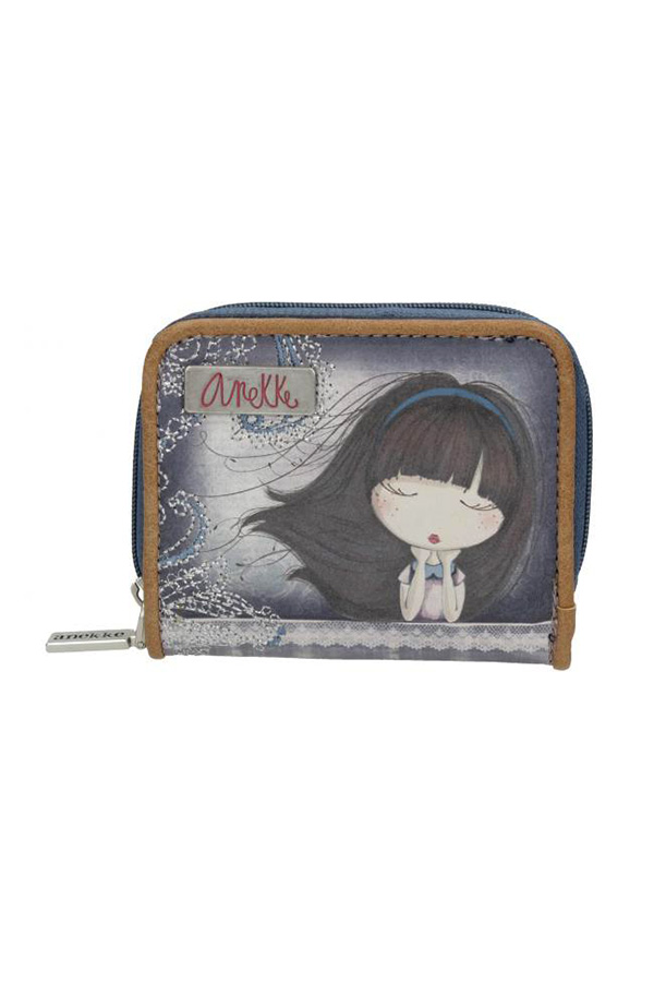 Πορτοφολάκι με κουμπί μπλε Anekke Moon 23749.3