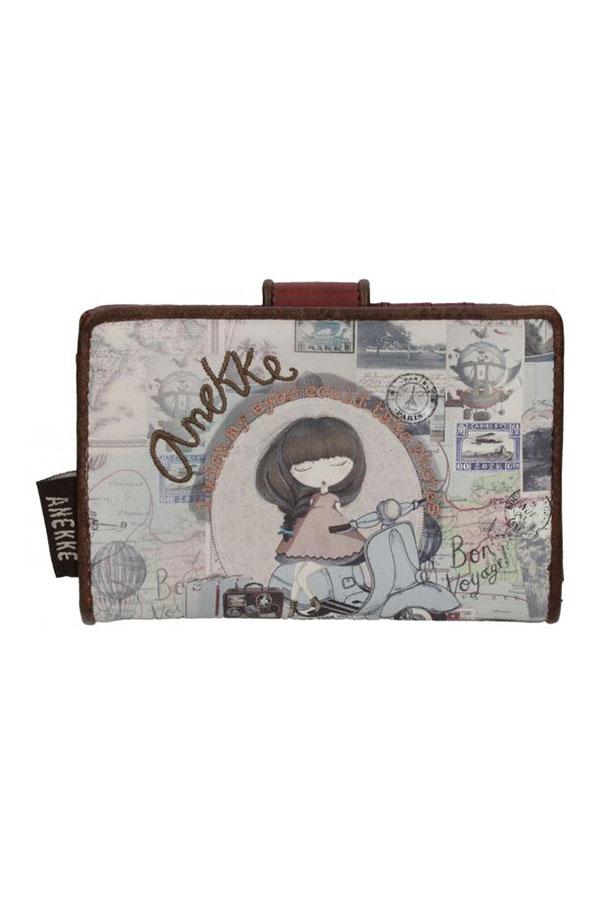 Πορτοφόλι με κουμπί μπεζ Anekke Traveller 23719.2