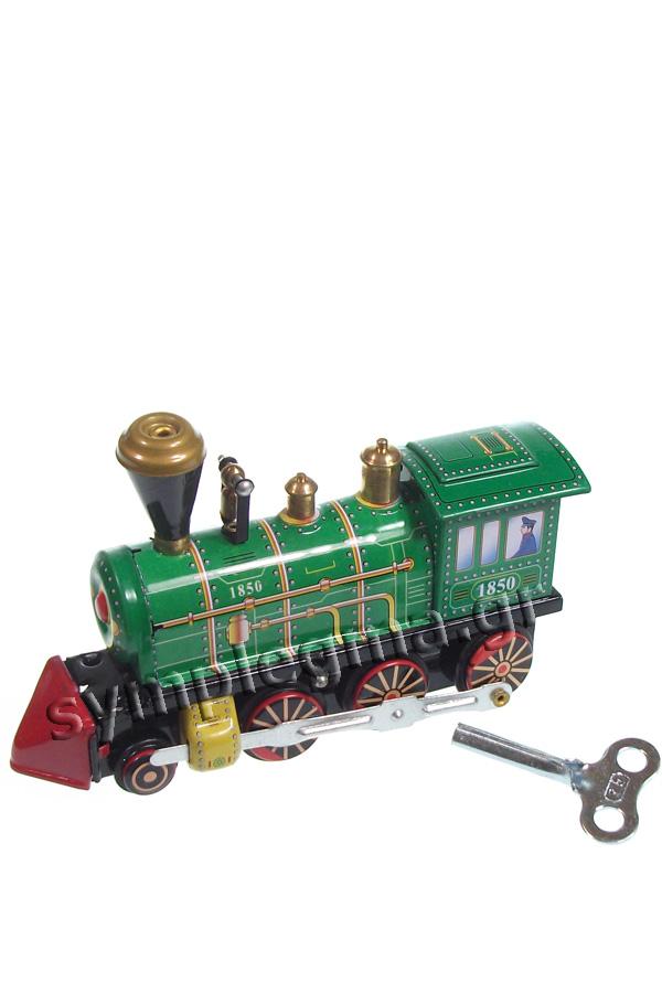 Τραίνο μεταλλικό ρετρό κουρδιστό πράσινο MS432