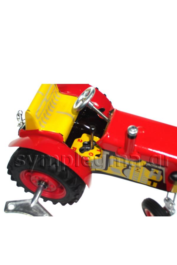 Τρακτέρ μεταλλικό ρετρό κουρδιστό κόκκινο 03801
