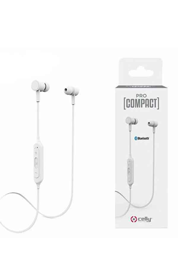 Ακουστικά με μικρόφωνο bluetooth Celly ProCompact λευκά 19A1000083