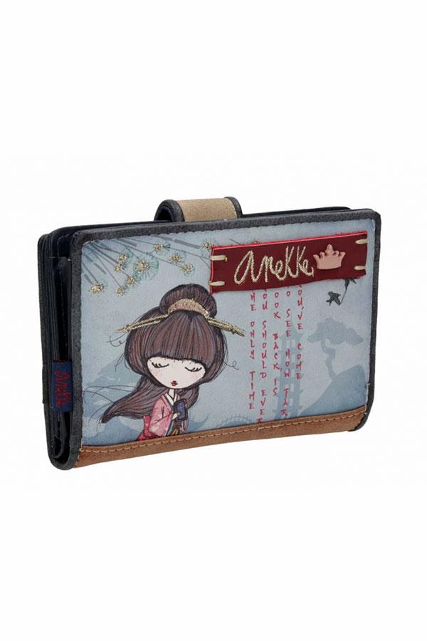 Anekke - Meraki 25809-2 πορτοφόλι με κουμπί μπλε