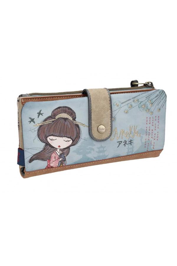 Anekke - Meraki 25809-6 πορτοφόλι μεγάλο με κουμπί μπλε