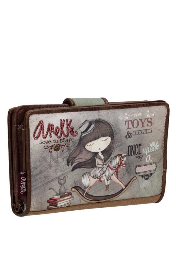 Anekke - Stories 25819-2 πορτοφόλι με κουμπί καφέ - γκρι