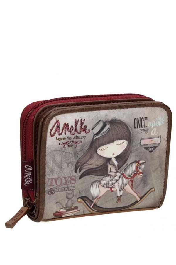 Anekke - Stories 25819-3 πορτοφολάκι με κουμπί καφέ - γκρι