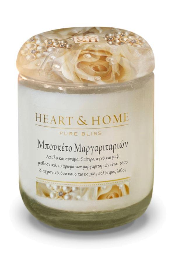 Αρωματικό κερί σε βάζο XL 340gr Heart and Home Μπουκέτο Μαργαριταριών 275000310
