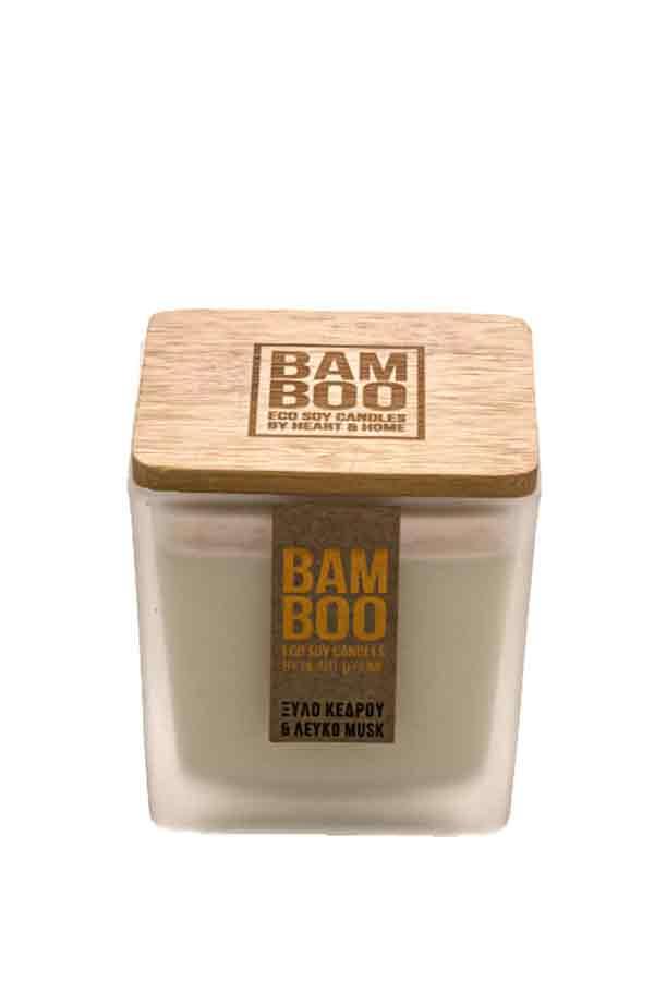 Αρωματικό κερί bamboo 90gr Heart and Home Ξύλο κέδρου και λευκό musk 276710501