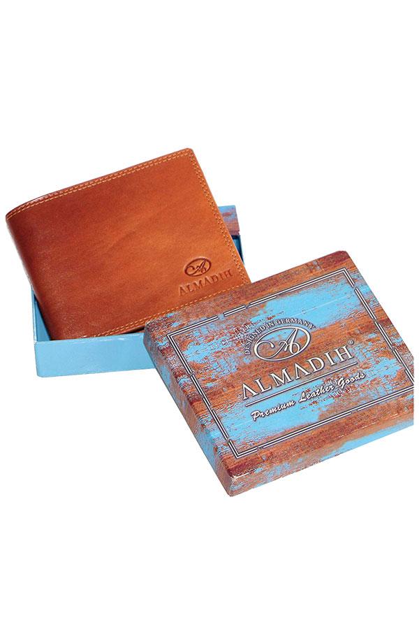 Πορτοφόλι δερμάτινο αντρικό Almadih καφέ ταμπά P0Q