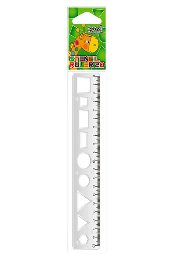 Χάρακας πλαστικός 20cm με σχήματα S.COOL SC.107