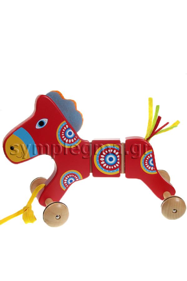 Τρεχαλίτσα τραβηχτή ξύλινη άλογο 22886