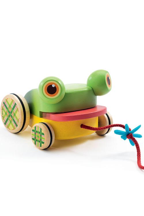 Τρεχαλίτσα τραβηχτή ξύλινη βάτραχος Djeco DJ06252
