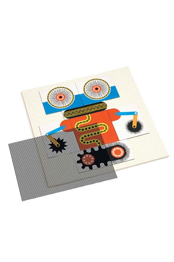 Παζλ 60 τεμαχίων με εφέ κίνησης Djeco Kinoptik ρομπότ DJ05611