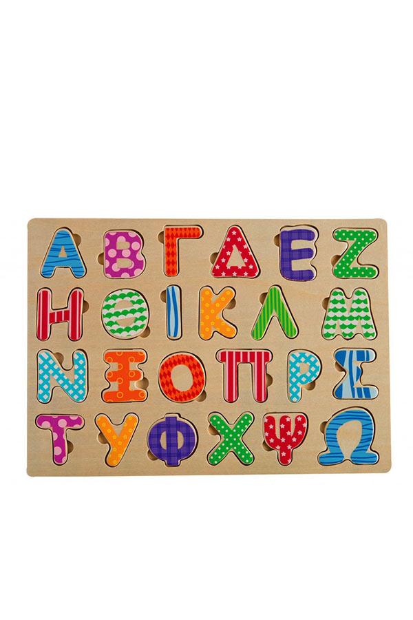 Σφηνώματα Αλφάβητο κεφαλαία ξύλινο TOOKY TOY TKC395