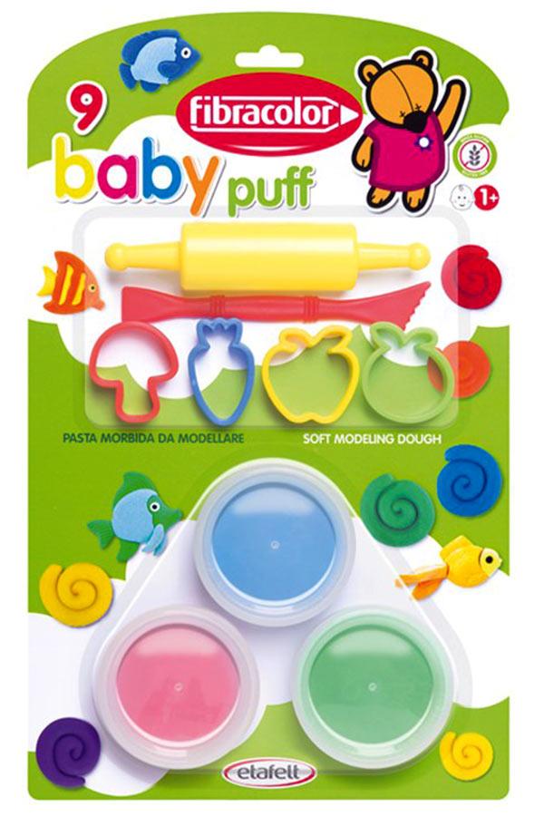 Κατασκευή πλαστοζυμαράκια με εργαλεία baby puff fibracolor 10090PM009BL
