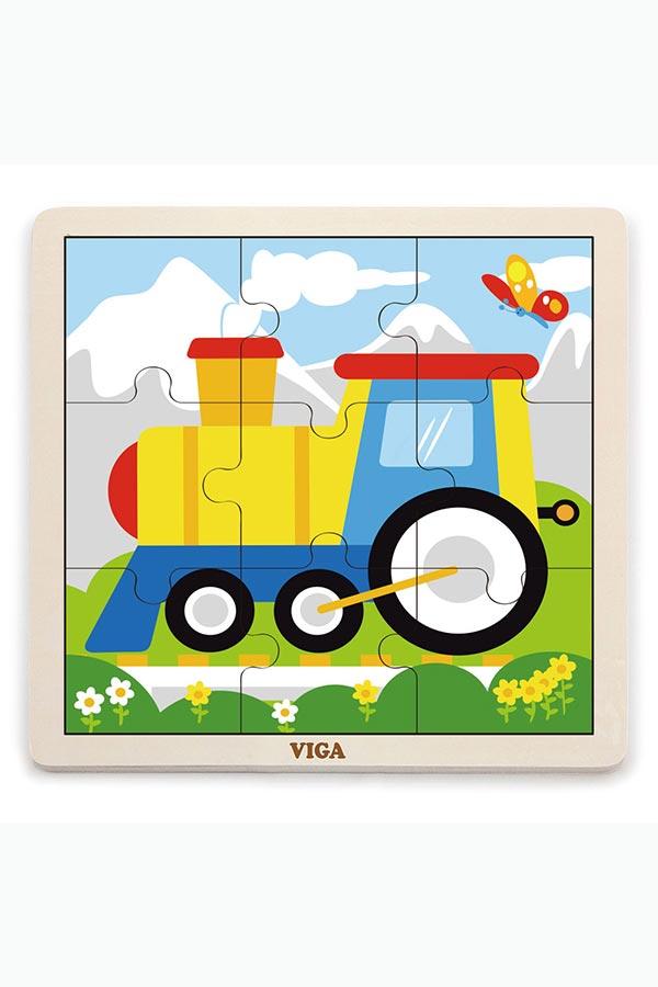 Παζλ ξύλινο 9 τεμαχίων Τρένο VIGA 51446